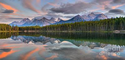 Photograph - Banff Herbert Lake Sunset by Adam Jewell
