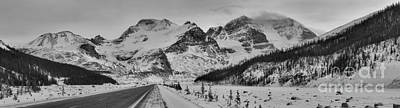 Photograph - Banff Icefields Parkway Black And White by Adam Jewell