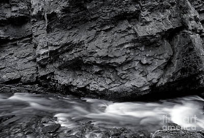 Photograph - Banff - Johnston Canyon Monochrome 2 by Terry Elniski
