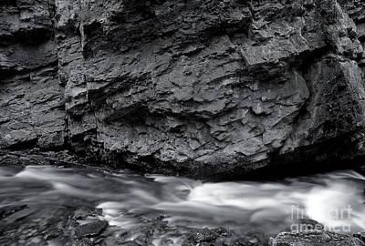 Photograph - Banff - Johnston Canyon Monochrome 2 by Terry Elniski