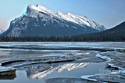 Photograph - Banff Mt Rundle Reflections by Adam Jewell