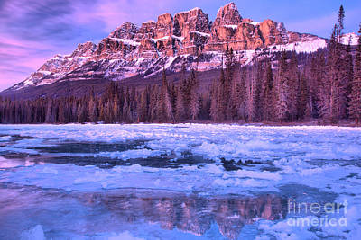 Photograph - Banff Purple Peaks In Icy Blue Waters by Adam Jewell
