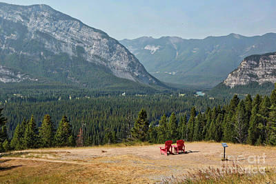 Photograph - Banff Red Chairs With Majestic Mountains by Carol Groenen