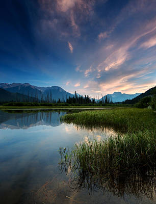 Canadian Marsh Photograph - Banff Sunset by Cale Best