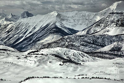 Photograph - Banff Sunshine Snowy Mountain Peaks by Adam Jewell
