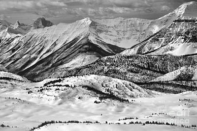 Photograph - Banff Sunshine Snowy Mountain Peaks Black And White by Adam Jewell