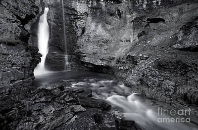 Photograph - Banff - Upper Johnston Canyon Falls Monochrome by Terry Elniski