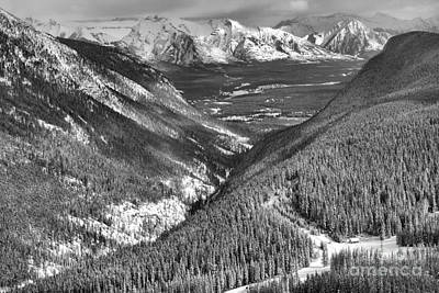 Photograph - Banff Valleys And Peaks Black And White by Adam Jewell