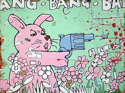Bunny Drawing - Bang Bang Bunny by H James Hoff