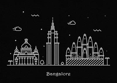 Abstract Landscape Drawing - Bangalore Skyline Travel Poster by Inspirowl Design