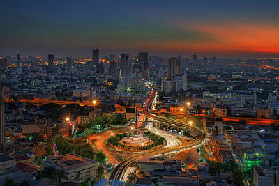 Bangkok City Night View With Main Traffic High Way Art Print by Anek Suwannaphoom