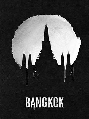 Asia Wall Art - Digital Art - Bangkok Landmark Black by Naxart Studio