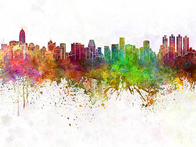 Bangkok Painting - Bangkok Skyline In Watercolor Background by Pablo Romero
