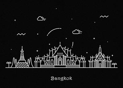 Abstract Landscape Drawing - Bangkok Skyline Travel Poster by Inspirowl Design