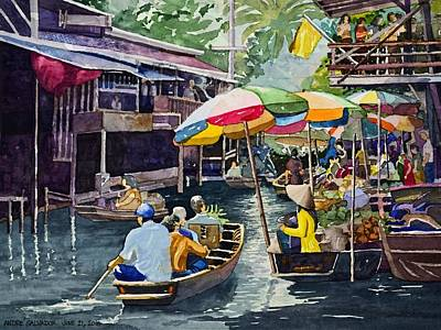 Painting - Bangkok's Floating Market by Andre Salvador