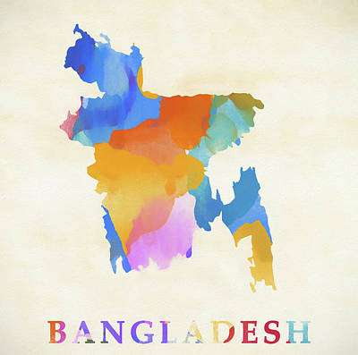 Painting - Bangladesh Watercolor Map by Dan Sproul