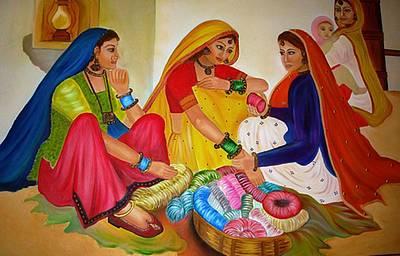 Bangles Painting - Bangle Seller by Xafira Mendonsa