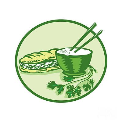 Sandwich Digital Art - Banh Mi Rice Bowl Coriander Circle Retro by Aloysius Patrimonio