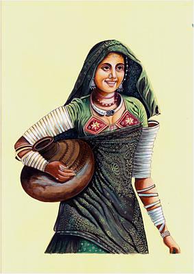 Indian Tribal Art Painting - Banjaran India Tribal Woman Miniature Painting India Watercolor Artwork. by A K Mundra
