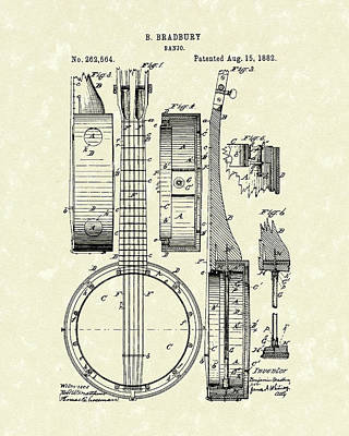 Banjo Drawing - Banjo 1882 Patent Art by Prior Art Design