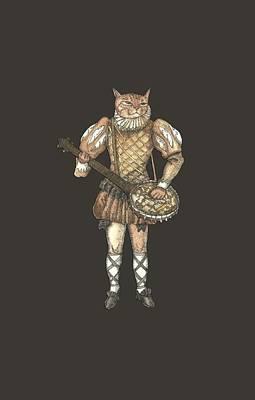 Banjo Cat Art Print