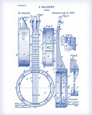 Painting - Banjo Patent Drawing by Gary Grayson