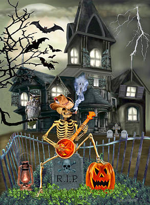 Haunted Mansion Digital Art - Banjo Playin' Bones by Glenn Holbrook