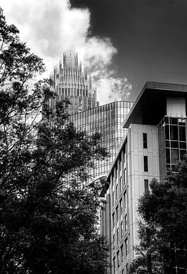 Bank Of America Of Charlotte In Black And White Art Print
