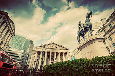 Exchange Photograph - Bank Of England, The Royal Exchange In London, The Uk. Vintage by Michal Bednarek