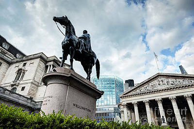 Exchange Photograph - Bank Of England, The Royal Exchange In London,, The Wellington Statue by Michal Bednarek
