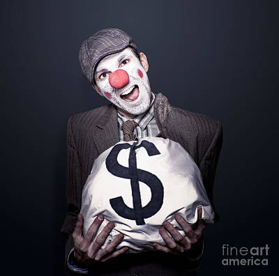 Bank Robber Clown Running With Bag Of Funny Money Art Print