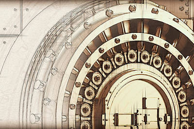 Digital Art - Bank Vault Door And Lock by Serge Averbukh