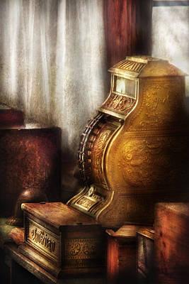 Banker - Brass Cash Register  Art Print by Mike Savad