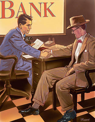 Norman Rockwell Mixed Media - Banker by Valer Ian