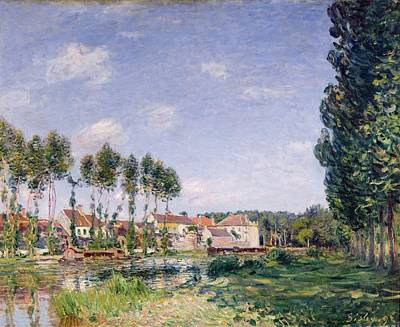 River Side Painting - Banks Of The Loing by Alfred Sisley