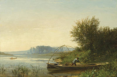 Painting - Banks Of The Seine In Bougival. Morning Effects by Emile Lambinet