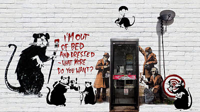 Digital Art - Banksy - The Tribute - Rats by Serge Averbukh