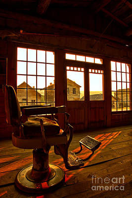 Photograph - Bannack Barber Chair Sunset by Adam Jewell