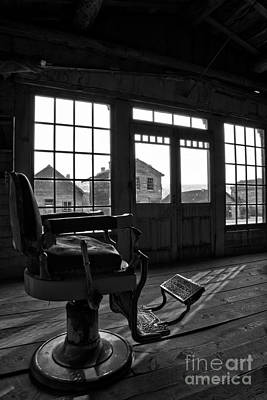 Photograph - Bannack Barber Chair Sunset Black And White by Adam Jewell