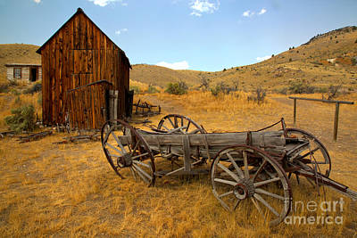 Photograph - Bannack Ghost Town Wagon by Adam Jewell