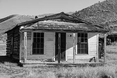 Photograph - Bannack House On The Hill Bw by Teresa Wilson