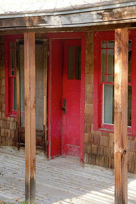 Photograph - Bannack Red Door by Teresa Wilson