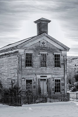 Bannack State Park Photograph - Bannack Schoolhouse And Masonic Temple Monochrome by Teresa Wilson