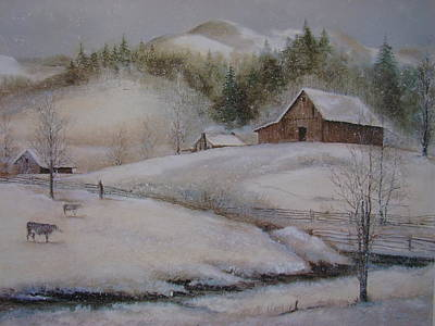 Smokey Mountains Painting - Banner Elk Winter by Charles Roy Smith