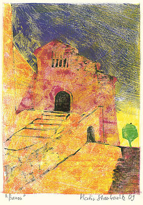 Art Print featuring the painting Banon Village In Provence by Martin Stankewitz