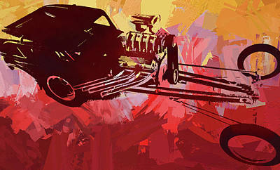 Digital Art - Bantam Dragster Pop Red by David King