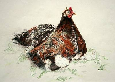 Barnyard Drawing - Banty Hen And Chicks by Kathy Roberts