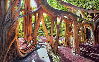 Wall Art - Painting - Banyan Forest by Terry Arroyo Mulrooney