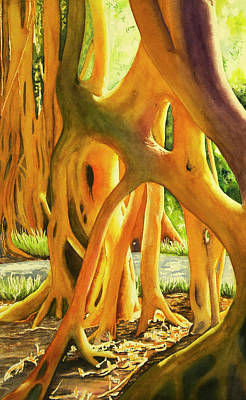 Wall Art - Painting - Banyan In The Park by Terry Arroyo Mulrooney