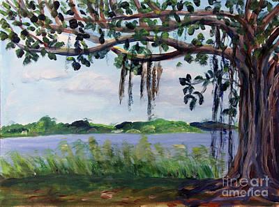 Painting - Banyon Tree At Lake Ida by Donna Walsh